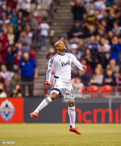 Robert Earnshaw of the Vancouver Whitecaps FC celebrates at the final whistle as the Whitecaps FC defeat the Portland Timbers 21 in MLS action on...