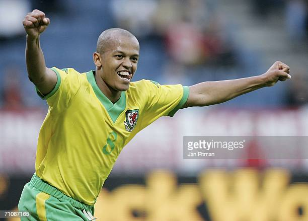 Robert Earnshaw of Wales celebrates after he scored the second time during the friendly match between Wales and Trinidad and Tobago on May 27 2006 in...