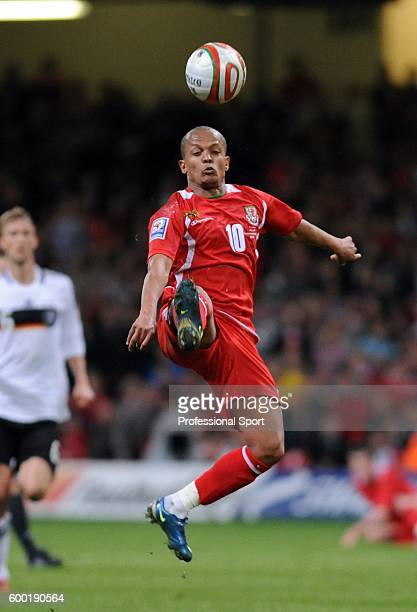 Robert Earnshaw of Wales in action during the FIFA 2010 World Cup Qualifier match between Wales and Germany at the Millennium Stadium on April 1,...