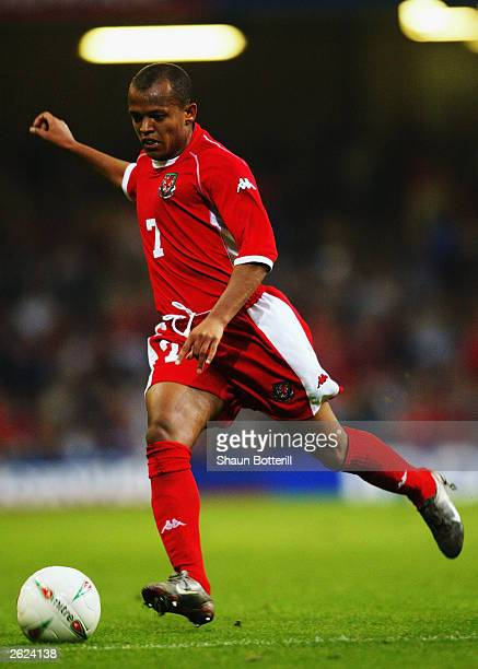 Robert Earnshaw of Wales looks to strike the ball during the Euro 2004 group 9 qualifing match between Wales and Serbia Montenegro at the Millennium...