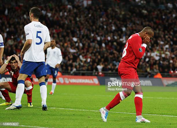 Robert Earnshaw of Wales reacts after missing a chance during the UEFA EURO 2012 group G qualifying match between England and Wales at Wembley...