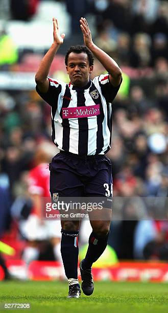 Robert Earnshaw of West Bromwich celebrates after the FA Barclays Premiership match between Manchester United and West Bromwich Albion at Old...