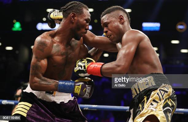 Robert Easter Jr and Javier Fortuna exchange punches during their IBF lightweight title bout at the Barclays Center on January 20 2018 in New York...
