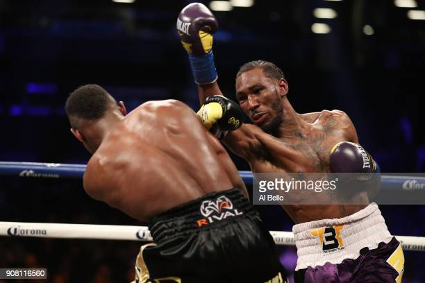 Robert Easter Jr punches Javier Fortuna during their IBF lightweight title bout at the Barclays Center on January 20 2018 in New York City