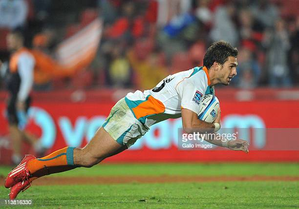 Robert Ebersohn of the Cheetahs dives over for his try during the Vodacom Super Rugby match between MTN Lions and Toyota Cheetahs at Coca Cola Park...