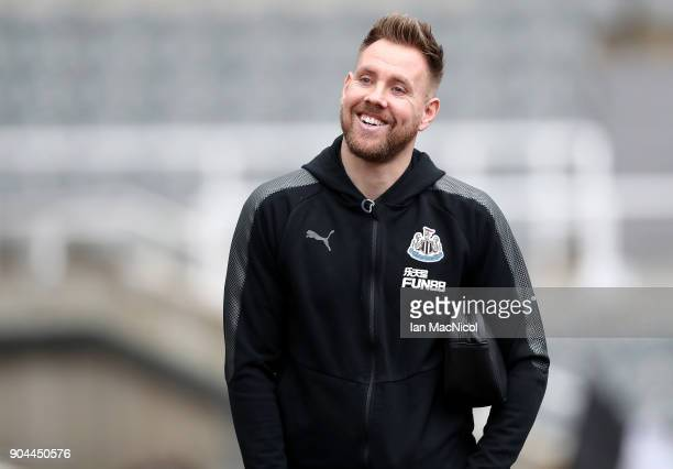 Robert Elliot of Newcastle United arrives at the stadium prior to the Premier League match between Newcastle United and Swansea City at St James Park...
