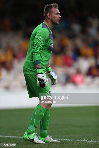 Robert Elliot of Newcastle United in action during the Pre Season Friendly match between Motherwell and Newcastle United at Fir Park on July 16 2013...