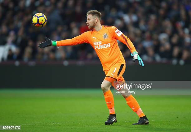 Robert Elliot of Newcastle United kicks the ball up the pitch during the Premier League match between West Ham United and Newcastle United at London...