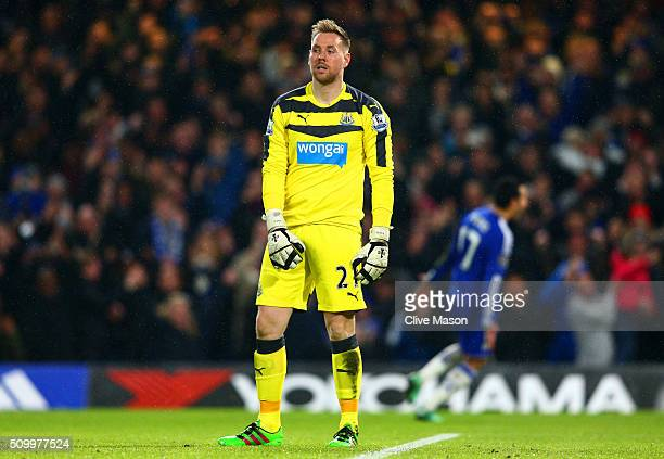 Robert Elliot of Newcastle United shows his frustration after Pedro of Chelsea scoring his team's second goal while during the Barclays Premier...