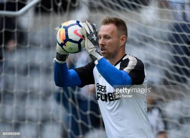 Robert Elliot of Newcastle United warms up prior to the Premier League match between Newcastle United and Tottenham Hotspur at St James Park on...