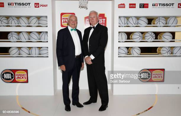 Robert Elphinstone and Dr Adrian Hurley arrive at the 2018 NBL MVP Awards Night at Crown Palladium on February 27 2018 in Melbourne Australia