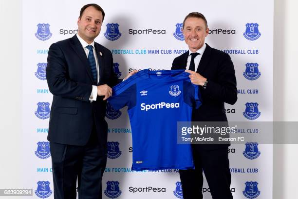 Robert Elstone of Everton and Ivo Bozukov of SportPesa pose for a photo as they announce a partnership agreement on MAY 15 2017 in Liverpool England