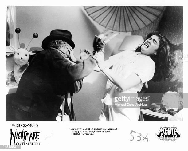Robert Englund attacks Heather Langenkamp in a scene from the film 'A Nightmare On Elm Street' 1984