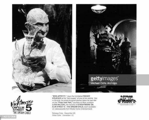 Robert Englund in his last supper with one of his victimsRobert Englund takes his last ride courtesy of Lisa Wilcox in the film 'A Nightmare on Elm...