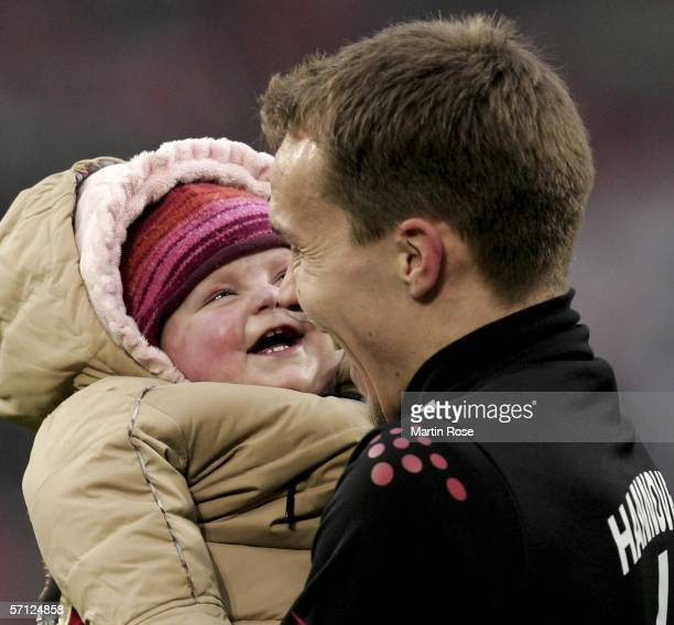 Robert Enke goalkeeper of Hannover and his daughter Lara seen after the Bundesliga match between Hanover 96 and 1FC Cologne at the AWD Arena on March...