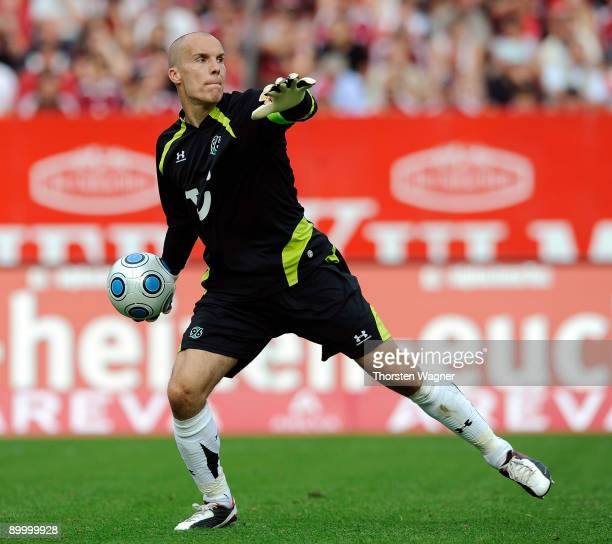 Robert Enke goalkeeper of Hannover in action during the Bundesliga match between 1FC Nuernberg and Hannover 96 at Easy Credit Stadium on August 22...