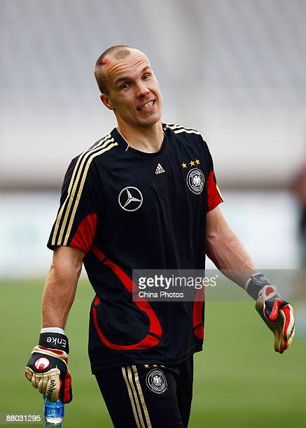 Robert Enke goalkeeper of the German national team reacts during a training session at the Shanghai Stadium on May 28 2009 in Shanghai China The...