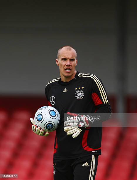 Robert Enke is seen during the training session of German Football National Team at the Suedstadion Koeln on September 2 2009 in Cologne Germany