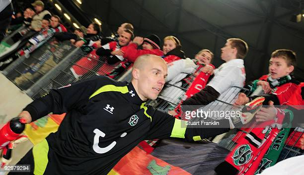 Robert Enke of Hannover 96 during the Bundesliga match between Hannover 96 and Hamburger SV at AWDArena on November 8 2009 in Hanover Germany