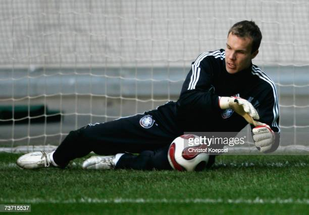 Robert Enke saves a ball during the German National Team training session at the LTU Arena on March 27 2007 in Dusseldorf Germany