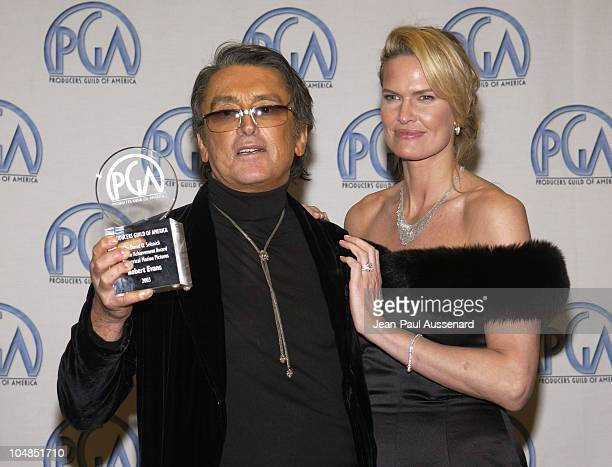 Robert Evans and Leslie Ann Woodward during 14th Annual Producers Guild of America Awards at Century Plaza Hotel in Los Angeles California United...