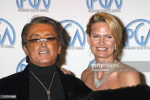 Robert Evans and Leslie Ann Woodward with his David O Selznick Award for Lifetime Achievement in the press room at the 14th Annual Producers Guild...