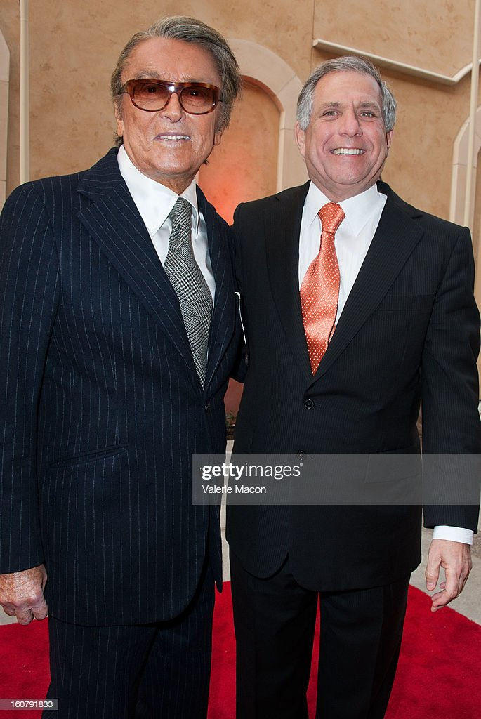 Robert Evans and Leslie Moonves attend the Dedication of The Sumner M. Redstone Production Building at USC on February 5, 2013 in Los Angeles, California.