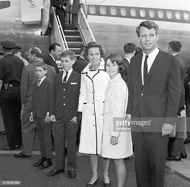 Robert F Kennedy and his family return to New York after a trip to Europe His wife Ethel and children Joseph Patrick II Robert Francis Jr and...
