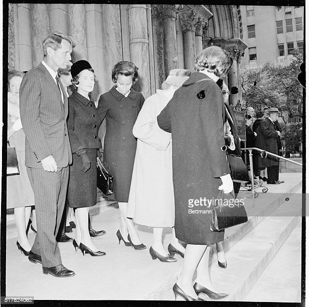 Robert F. Kennedy and his Mother, Mrs. Joseph Kennedy and his wife Ethel leave St. Bartholomew's Church October 22nd after attending funeral services...