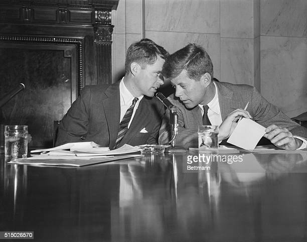 Robert F. Kennedy , counsel of the Senate Committee on Racketeering in Labor and Industry, and his brother John F. Kennedy , a member of the...