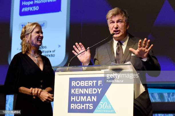 Robert F Kennedy Human Rights President Kerry Kennedy and Alec Baldwin speak onstage during the 2019 Robert F Kennedy Human Rights Ripple Of Hope...