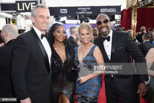 Robert F Kennedy Jr and actors Shahidah Omar Cheryl Hines and J B Smoove attend the 24th Annual Screen Actors Guild Awards at The Shrine Auditorium...
