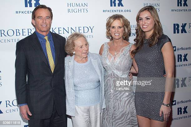 Robert F Kennedy Jr Ethel Kennedy President of RFK Center Kerry Kennedy and Mariah Kennedy Cuomo attend the 2013 Ripple of Hope awards dinner at the...