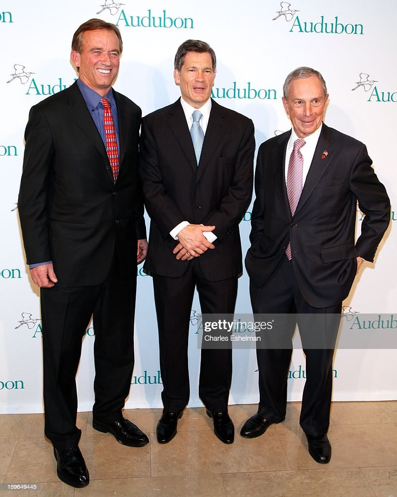 Robert F. Kennedy Jr., honoree Louis Bacon and New York City Mayor Michael Bloomberg attend the 2013 National Audubon Society Gala Dinner on January 17, 2013 at The Plaza Hotel in New York, City.