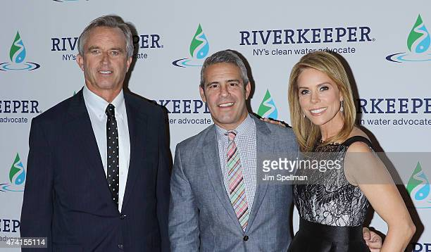 Robert F Kennedy Jr tv personality Andy Cohen and Cheryl Hines attend the 2015 Riverkeeper Fishermen's Ball at Pier Sixty at Chelsea Piers on May 20...