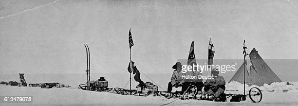Robert F Scott Ernest Shackleton and Edward A Wilson took sleds to a new farthest south point of 82 degrees 17 minutes on December 30 during Scott's...