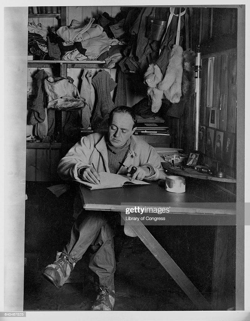 Robert Falcon Scott Writing in Diary