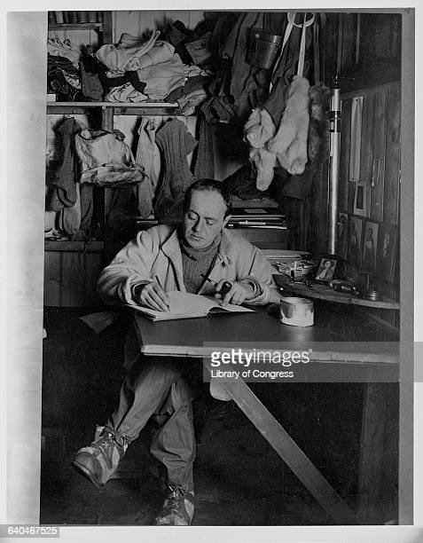 Robert Falcon Scott Writing in Diary