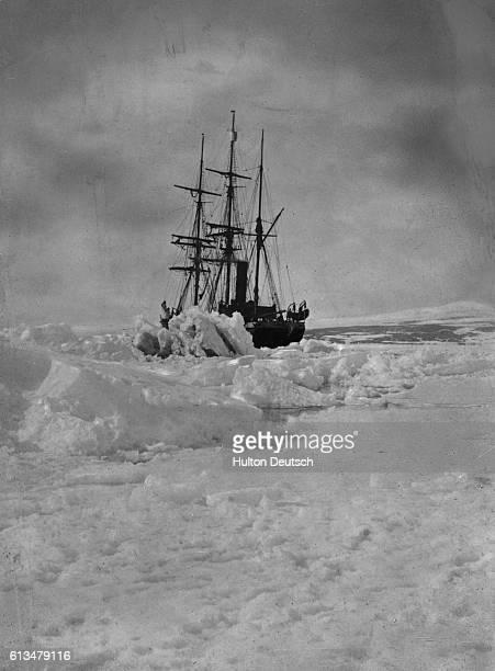 Robert Falcon Scott's bark Terra Nova is stranded in the ice of Antarctica during the Terra Nova Expedition
