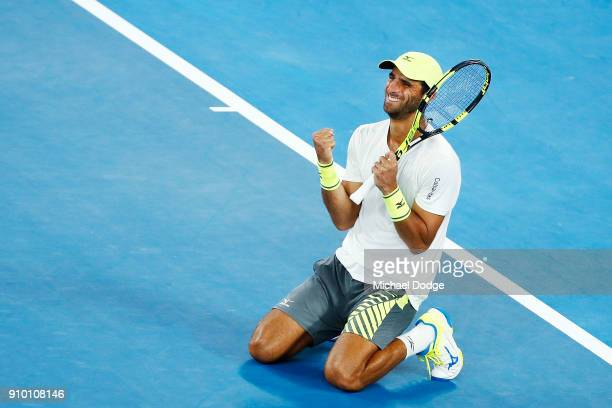 Robert Farah of Colombia partnering Juan Sebastian Cabal of Colombia celebrates their win in their semifinal match against Mike Bryan and Bob Bryan...