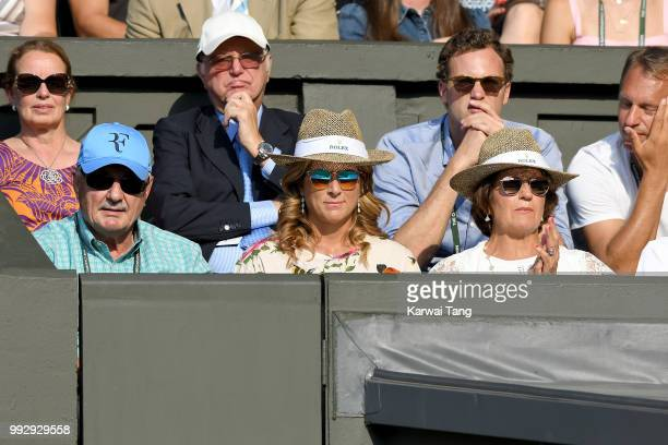 Robert Federer Mirka Federer and Lynette Federer attend day five of the Wimbledon Tennis Championships at the All England Lawn Tennis and Croquet...