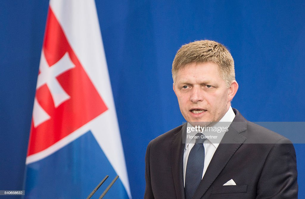 Robert Fico, Prime Minister of Slowakia, speaks to the media on June 16, 2016 in Berlin, Germany. Fico visits Berlin for political conversations.