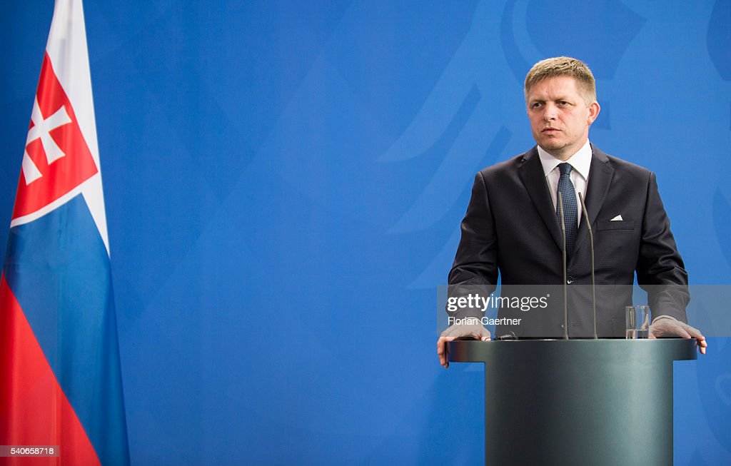 Prime Minister Of Slovakia Fico Visits Merkel : News Photo