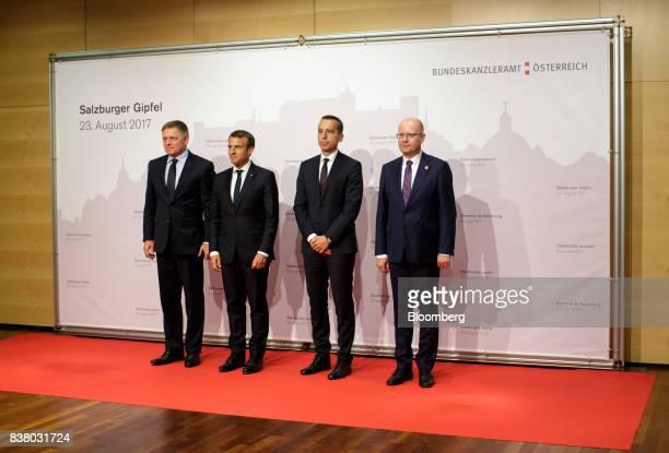 Robert Fico, Slovakia's prime minister, from left, Emmanuel Macron, France's president, Christian Kern, Austria's chancellor, and Bohuslav Sobotka,...