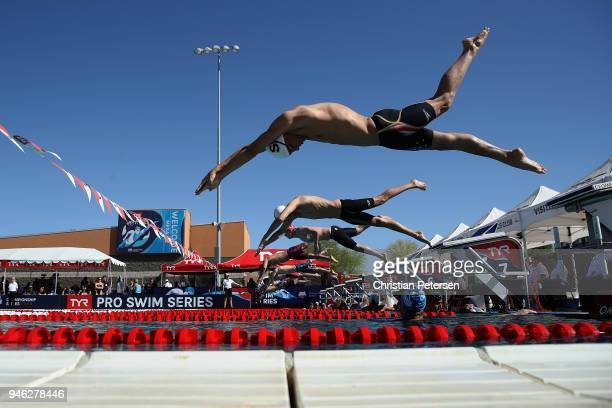 Robert Finke competes in the Men's 400 LC Meter Freestyle prelims during day three of the TYR Pro Swim Series at the Skyline Aquatic Center on April...