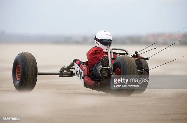 Robert Finlay of Ireland taking part in one of the races at the European Kite Buggy Championships at Hoylake Wirral north west England Around 75...
