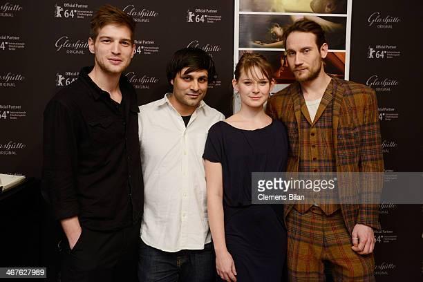 Robert Finster Maximilian Leo Nadja Bobyleva and Sebastian Zimmler attend the WarmUp at the Glashuette Lounge during 64th Berlinale International...