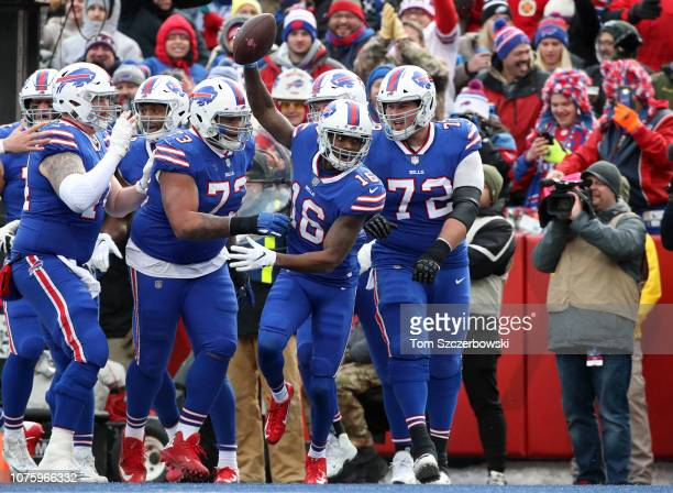 Robert Foster of the Buffalo Bills celebrates his touchdown in the third quarter during NFL game action against the Miami Dolphins at New Era Field...