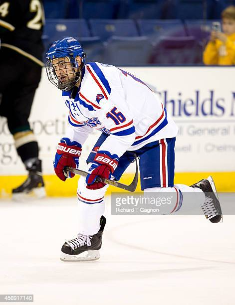 Robert Francis of the Massachusetts Lowell River Hawks skates against the St. Thomas University Tommies during NCAA exhibition hockey at the Tsongas...