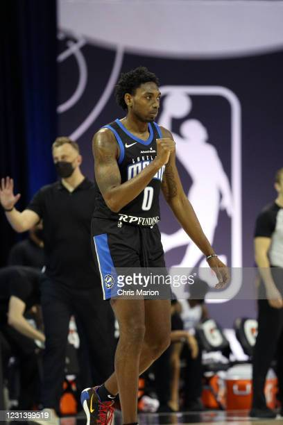 Robert Franks of the Lakeland Magic celebrates during the game against the Delaware Blue Coats on February 26, 2021 at HP Field House in Orlando,...